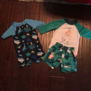 Other - Swim rash guard one piece and set plus water shoes